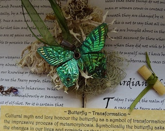 Shimmering Butterfly Necklace~ Green Flash