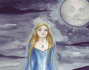Lady of Avalon ~ Original Watercolour Painting, Avalon, Goddess, Moon Goddess, Moon