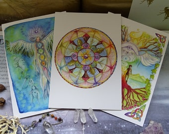 Rainbow Chakra pack of 3 A5 Art Cards