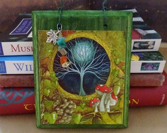 Gateway ~  Hanging Wooden Gemstone Art Plaque