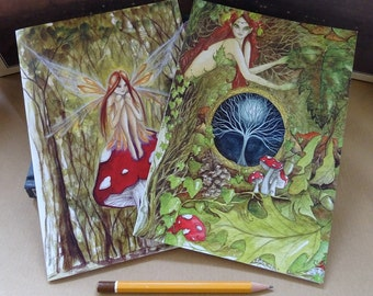 Woodland Notebook Set,Set of 2, A5 Notebook, sketchbook, workbook, Goddess, Fairy, Nature Goddess, Healing art, Nature, Forest, Woodland