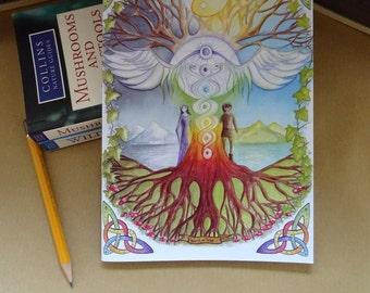 A5 Notebook, World Tree, Celtic Design, Jotter, Sketchbook, Recycled Notebook, Tree of Life, Spiritual Retreat, Workbook, Chakras, Yin Yang