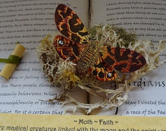 Shimmering Flame Moth Brooch