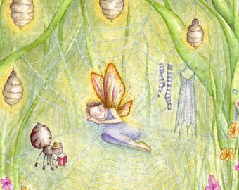 Along Came a Spider ~ Original Painting Watercolour, Fairy Art, Nature, Spiders Web, Nursery Rhyme