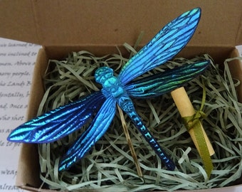 Magical Dragonfly Hairpin ~ Electric Blue