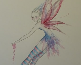 Pink Fairy Original Watercolour Painting