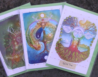 Celtic Shaman ~ Handmade Glitter Card Pack
