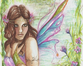 Rainforest Fairy ~ Original Watercolour Painting