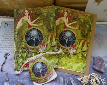 Green Goddess Gift Set ~ Notebook, Pocket Mirror & Card