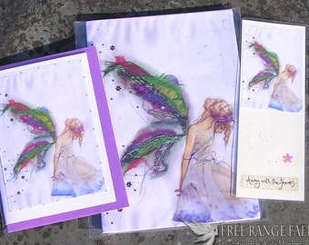 Fabric Faerie Notebook, Handmade Bookmark & Card Gift Set