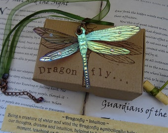 Iridescent Dragonfly Ribbon Necklace