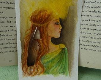 Mascen's Dream ~ Elen of the Ways Original Mini Watercolour Painting
