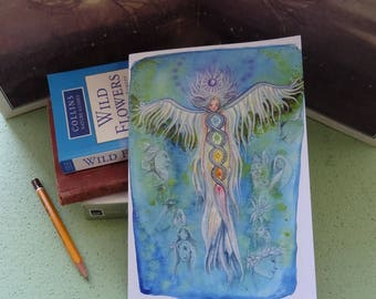 A5 Notebook, Transformations, Recycled Notebook, Journal, Angel Notepad, Healing art, Angel art, Spiritual, Angel Retreat, Workshop