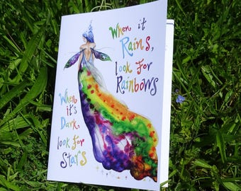 A5 Notebook, Rainbow Maker, Gratitude Journal, When it Rains, look for Rainbows, Inspirational Quote,  Journal, Fairy Notepad, Fairie