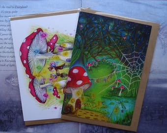 Toadstool House pack of 2 A5 Art Cards
