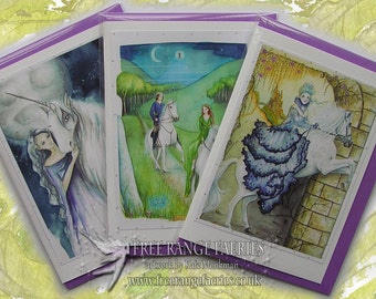 Magical White Horse Handmade Glitter Card Pack