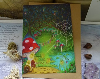 Wash Day, Toadstool Card, Art Card, Toadstool House, Mushroom House, Fairy House, Magical Woodland, Forest, Pixies, Fairies, Gnomes