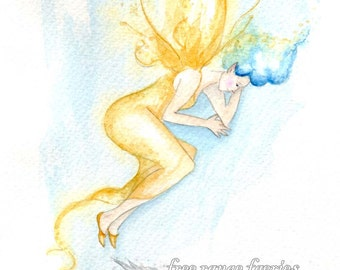 Topaz Faerie ~ Original Watercolour painting