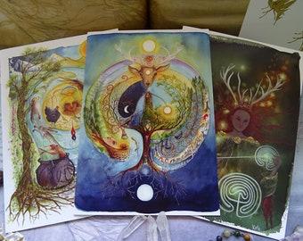 Celtic Goddesses pack of 3 A5 Art Cards
