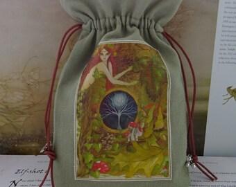 Green Goddess Tarot Card Bag ~ Sage Green ~ Made with Hemp/Organic Cotton Sustainable Fabric