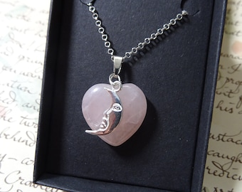 Pink Moon Rose Quartz Pendant