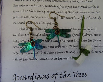 Dragonfly Earrings ~ Green Flash