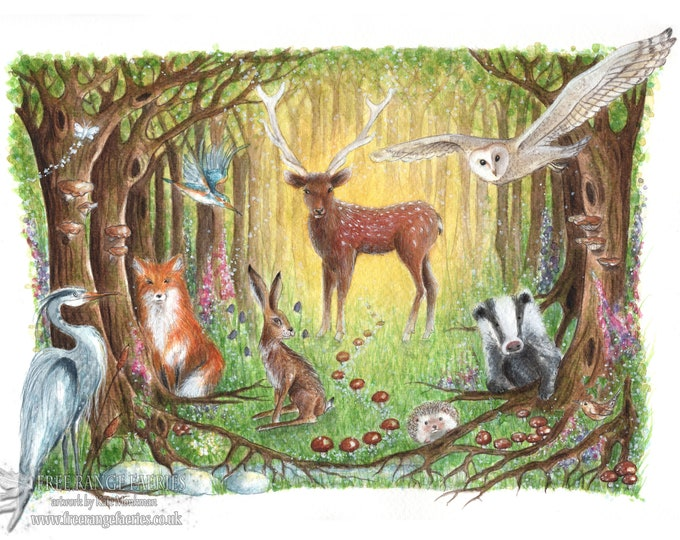 Featured listing image: A4 Art Print, Welcome to the Wood, Forest, Animals, Woodland, Deer, Owl, Fox, Badger, Fox, Toadstools, Children's Print, Book Illustration