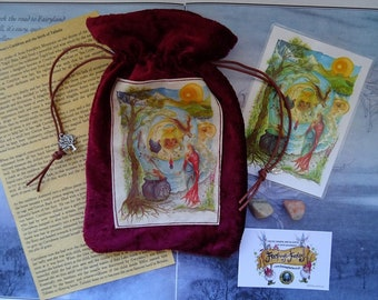 Cerridwen's Spell Blessings Pouch ~ Red Velvet