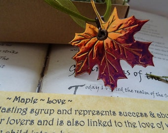 Shimmering Autumn Flame Maple Leaf Ribbon Necklace ~ Love