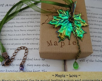 Shimmering Autumn Maple Leaf Crystal Drop Ribbon Necklace ~ Love
