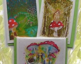 Toadstool Magic ~ Handmade Glitter Card Pack