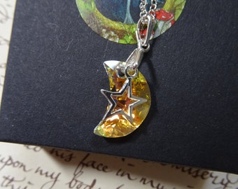 Swarovski Crystal Moon and Star Pendant
