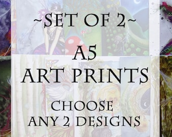 Set of 2 A5 Art Prints ~ Choose any 2 designs