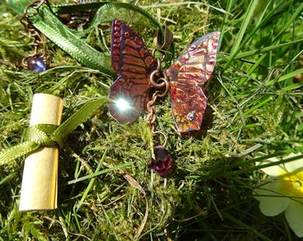 Crystal Butterfly Necklace~ Orange Flame
