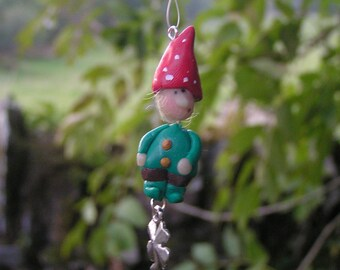 Lucky Charm, Lucky Gnome, Window Charm, Hanging Ornament, Hanging Decoration, Gnome, Lucky Clover, Tree Decoration, OOAK, Handpainted
