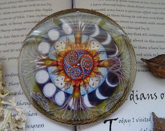 Wood Wide Web Mandala Pocket Mirror