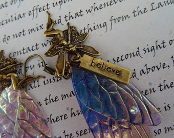 Shimmering Fairy Wing Earrings with Believe Faerie Charm