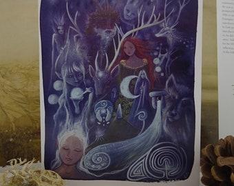 A5 Art Card, The Silver Wheel, Pagan, Greeting Card, Arianrhod, Goddess Art, Goddess, Deer, Spiritual, Healing, Nature, Forest, Labyrinth