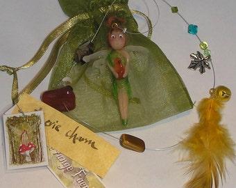 Hanging Fairy Decoration, Hanging Ornament, Window Ornament, Faerie, Handmade Fairy, OOAK, Gemstones, Fairy Charm, Autumn Days, Window Charm