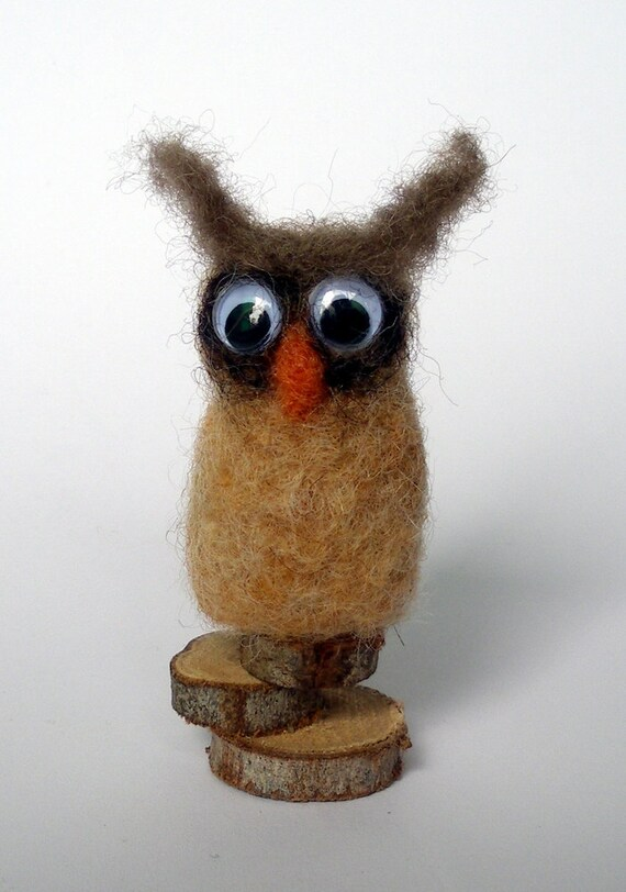 Needle Felted Owl on wood slices
