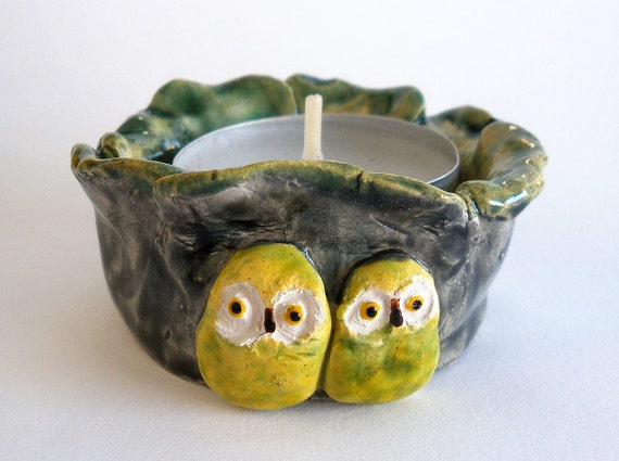 Owls Ceramic Tealight Candle Holder Green Yellow