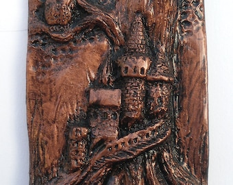 Owl Tile with Tree Castle - Copper