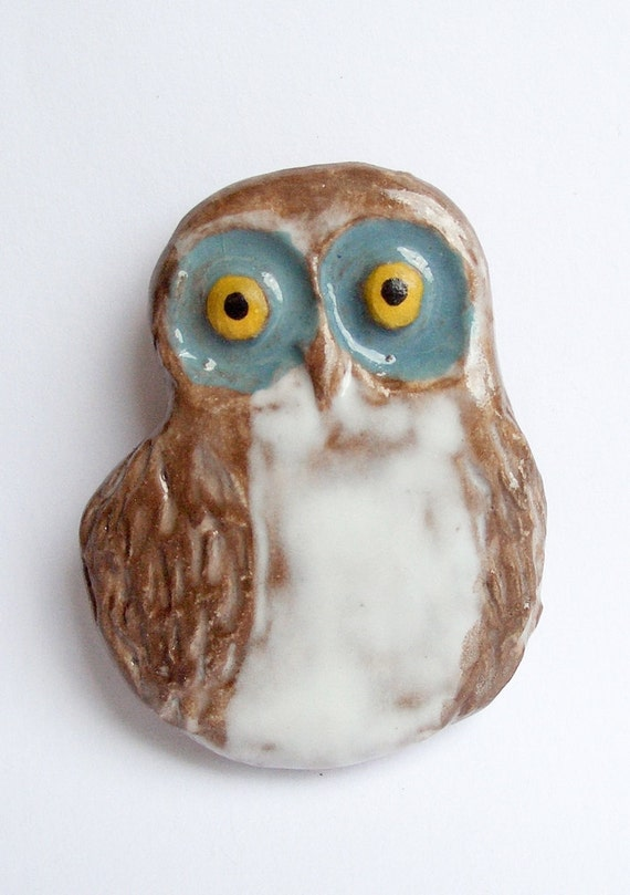 Handmade Ceramic Brown and White Owl Magnet
