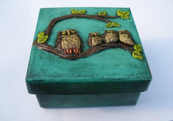 Owls Box Handmade Decorations