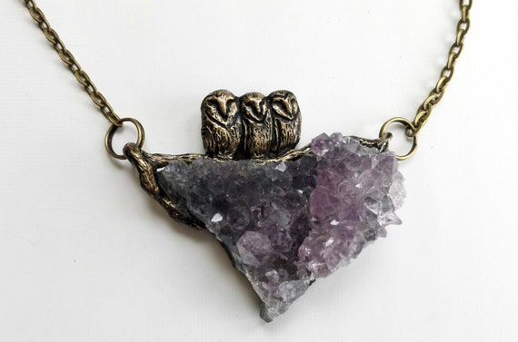 Barn Owl Necklace with Amethyst Druzy