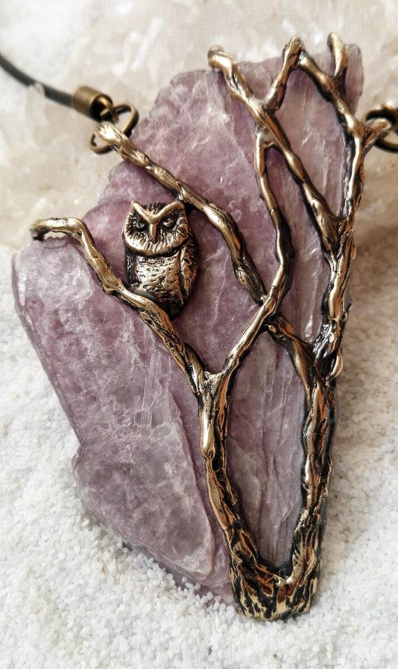 Owl pendant  with Lepidolite