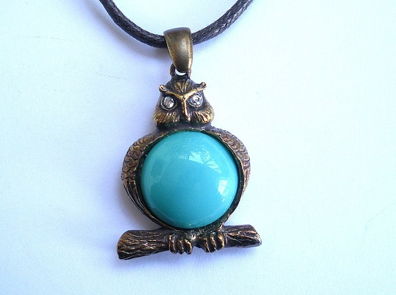 Owl Pendant,Turquoise glass bead and zircons