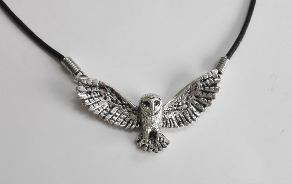Barn Owl Pendant Necklace  silver plated