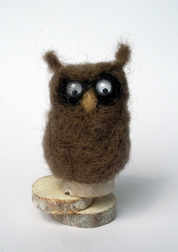 Needle felted Owl, Brown