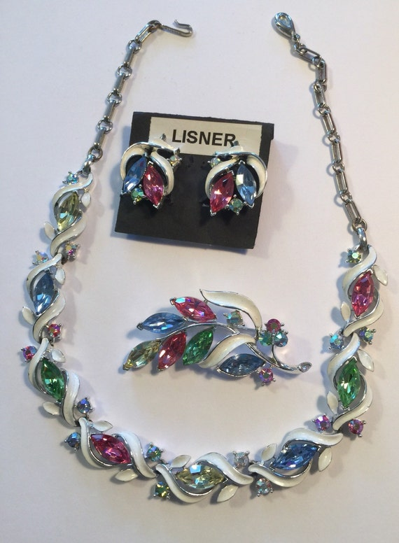 LISNER SET Necklace Earrings Pin 1950's